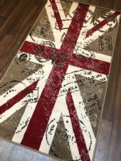 NOVELTY RANGE 80X150CM STAMPED UNION JACK RUG/MAT TOP QUALITY BEIGE/BROWN/RED